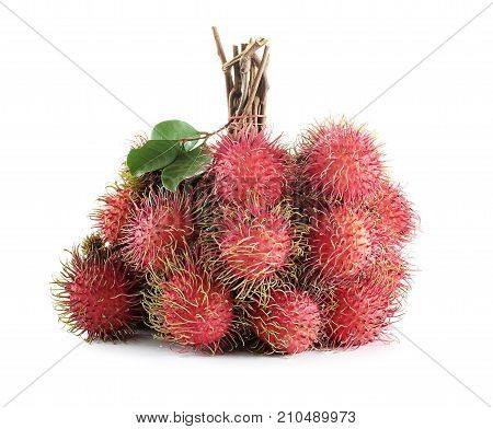 rambutan close up isolated on white background .