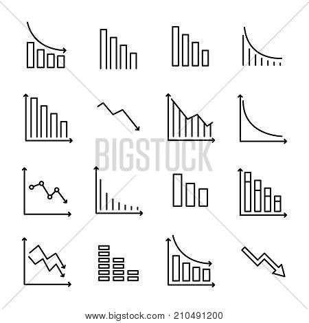 Simple collection of reduction related line icons. Thin line vector set of signs for infographic, logo, app development and website design. Premium symbols isolated on a white background.