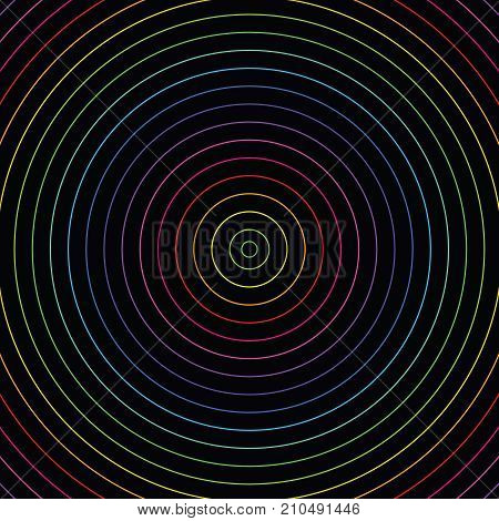 Abstract colorful neon lights inner circles pattern on black background