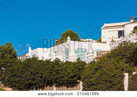 View Of The Building On The Coast Of Costa Dorada In Miami Platja, Tarragona, Catalunya, Spain. Clos