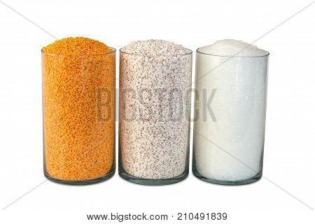 Polypropylene beads plastic pellets on white color background.