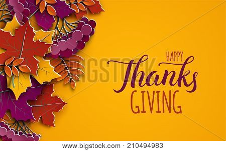 Thanksgiving holiday banner with congratulation text. Autumn tree leaves on yellow background. Autumnal design for fall season poster thanksgiving greeting card paper cut style vector illustration