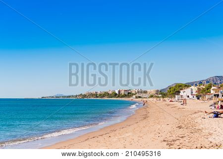 Sand Beach In Miami Platja, Tarragona, Catalunya, Spain. Copy Space For Text.