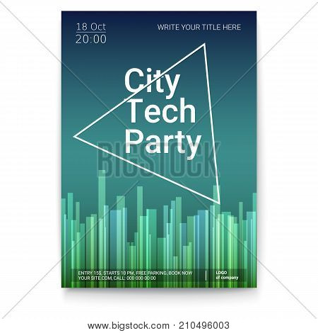 Vector template of poster, design layout for brochure, banner, flyer. Mock-up of City Techno Party event with text template, A4 size. Poster design with abstract pattern isolated on white background.