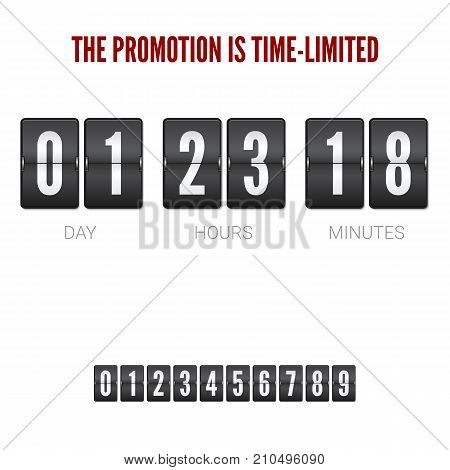 Analog ounter remaining time, flip clock timer. Mechanical clock for countdown isolated on white background. Template of flip countdown timer, clock counter. Set of numbers for timer, 3D illustration