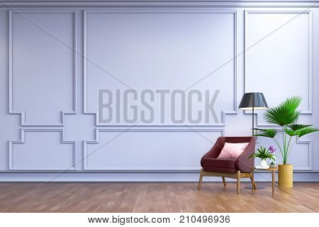 vintage  interior room ,, Contemporary furniture,luxury decor, berry leather sofa  and black lamp on wood flooring and blur light  frame wall /3d render