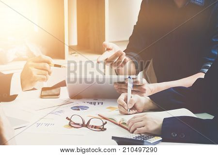 Group Of Business. Business Team Adviser Busy Discussing Financial Matter During Meeting, Business M
