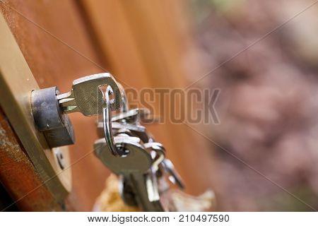 Bunch of key in a gate