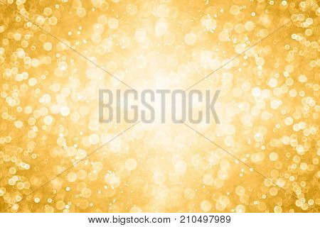 Elegant gold white glitter sparkle confetti background for golden happy birthday party invite, 50th wedding anniversary texture, New Year's Eve champagne color border or Christmas shine light explosion