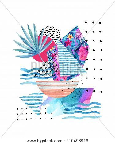 Watercolor summer poster background with sailing boat flowers fan palm leaves doodles lines geometric shapes. Hand drawn elements in minimal style. Watercolour art illustration inspired by ocean