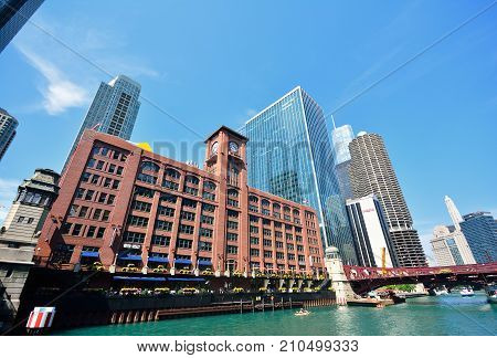 Riverwalk In Chicago, Illinois, Usa.