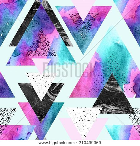 Abstract watercolor geometric seamless pattern. Triangles with watercolor doodle black marble textures. Geometrical background in minimal style. Hand painted art illustration