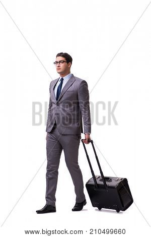 Young man during business travel isolated on white