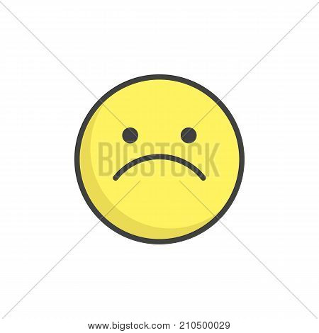 Slightly frowning face emoticon filled outline icon, line vector sign, linear colorful pictogram isolated on white. Emoji smiley symbol, logo illustration. Pixel perfect vector graphics
