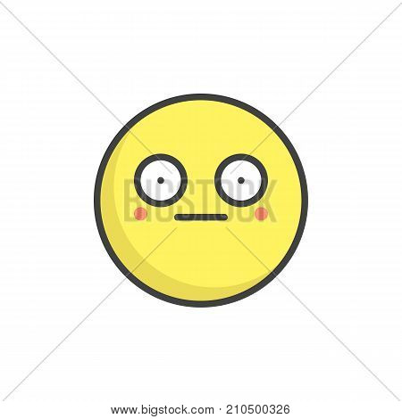 Shame face emoticon filled outline icon, line vector sign, linear colorful pictogram isolated on white. Emoji smiley symbol, logo illustration. Pixel perfect vector graphics