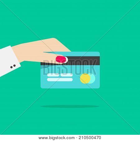 Hand holding credit or debit card vector illustration