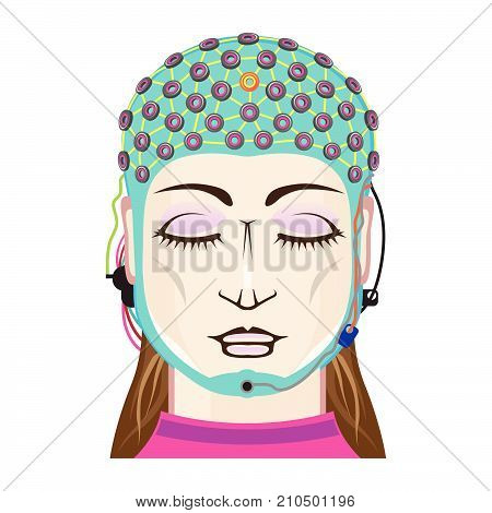 Device EEG reading mind science instrument vector