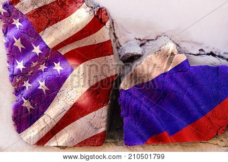 Symbol of crisis relations between countries. Broken square log wood with flags of USA and Russia. Cold war. The third world war. The conflict between Russia and America. Political concept.