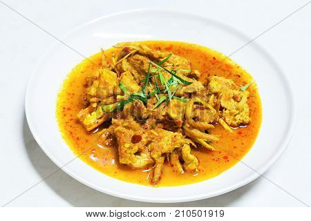 Panang Curry with Pork on White Plate