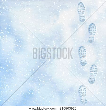 Clear deep footprints on white winter snow of a pair of boots. Track in snow. Overhead view. Texture of snow surface. Vector illustration background