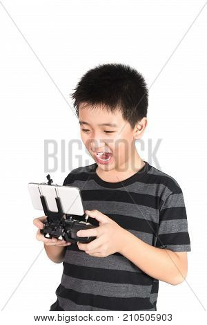 Asian Boy Holding Hexacopter Drone And Radio Remote Control Handset For Helicopter, Drone Or Plane,