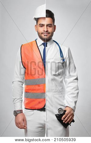 Combined studio portrait of a man dressed in constructionist uniform and labcoat architector engineering building construction doctor medical worker medicine healthcare insurance safety.