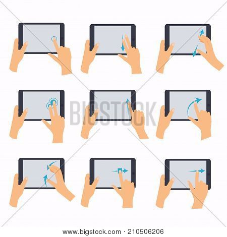 Hands holding a tablet touch computer gadget. Hand icons showing commonly used multi-touch gestures for touchscreen tablets. Flat design modern vector business concept.