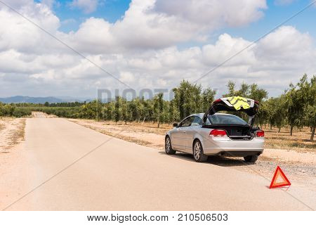 The Spanish Landscape. The Car Broke Down On The Road. Copy Space For Text.