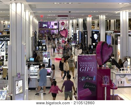 NEW YORK NEW YORK USA - AUGUST 6: Inside Macy's Department store with shoppers. Taken August 6 2017 in New York.