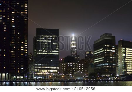 View of Manhattan buildings as seen from Queens New York.