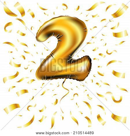 Vector Happy Birthday Gold Number Two Metallic Balloon. 2 Party Decoration. Anniversary Sign For Hol
