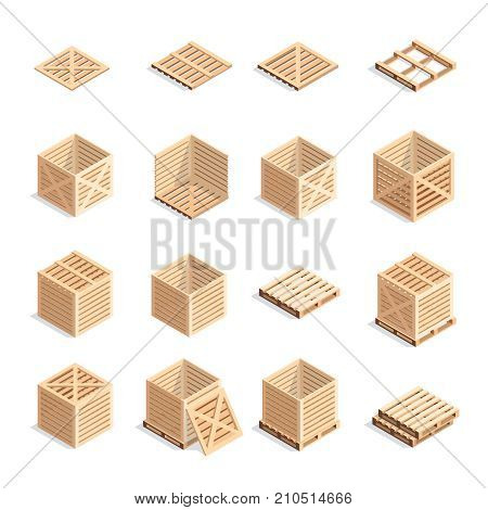 Set of isometric wooden boxes and pallets. 3d wooden containers on pallets. Open and closed boxes isolated on white background. Vector illustration.