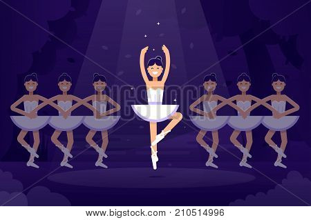 Ballet vector flat illustration, ballerinas in dancing on the stage with light on the dark background. Ballet prima ballerina performance. Ballet flat design banner stock illustration.