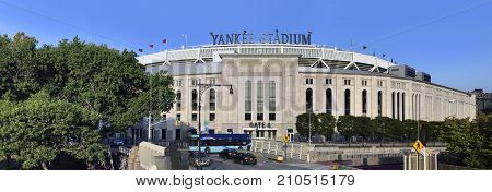 BRONX NEW YORK USA - SEPTEMBER 25: Wide view of Yankee Stadium. Taken September 25 2017 in New York.