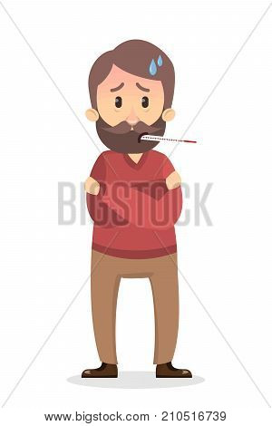 Isolated man with thermometer and high temperature.