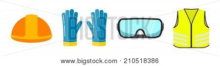 Safety equipment flat vector illustration isolated on white background. Construction helmet, blue safety gloves, transparent glasses, neon safety vest front view.