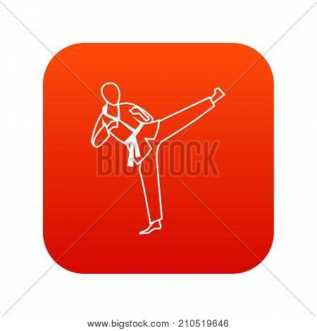 Wushu master icon digital red for any design isolated on white vector illustration