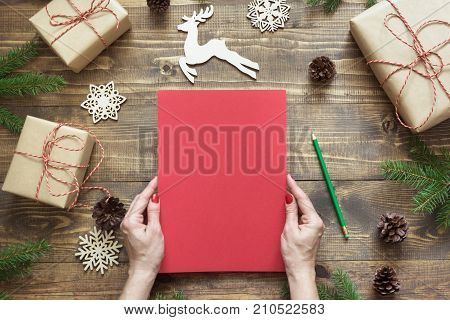 Christmas Composition. Empty Blank Letter For Santa Or Your Wishlist Or Advent Activities In Female