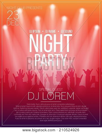 Dance party flyer or poster design template. Night party dj concert disco party background with spotlights and people crowd. Vector