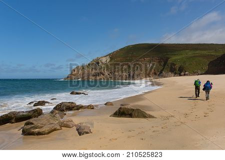 Portheras beach Cornwall on Cornish coast South West of St Ives between Pendeen and Morvah