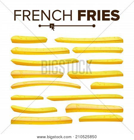 Realistic French Fries Vector. Tasty Fast Food Potato Icons. Classic American Stick Breakfast. Design Element. Isolated On White Background Illustration