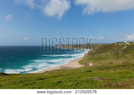 Sennen Cove Cornwall beach and coast near Land`s End tourist attraction the first village to the north with blue sky