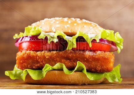 Fish Burger With Vegetables