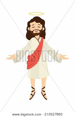 Isolated Jesus Christ with halo on white background. poster