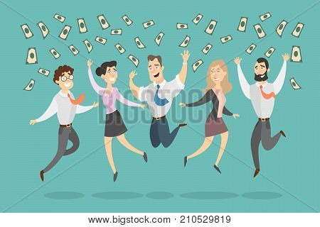 People jumping with money rain in happiness.