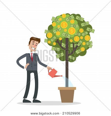 Man watering money tree. Idea of passive income.