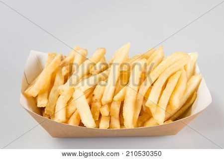 Fast Food, French Fries, Tasty Street Food In Paper Box, Isolated