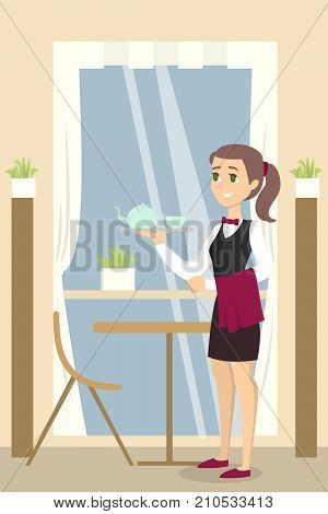 Restaurant female waiter with menu in unifrom.