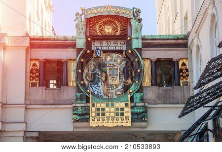 Vienna. Austria. Ankeruhr famous astronomical clock built by Franz von Matsch in the norther part of the inner city at the place Hoher Markt.