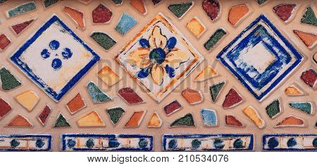 Mosaic Background. Colorful Mosaic. Texture Mosaic. Fragments Of A Stair Mosaic In The Old Spanish C